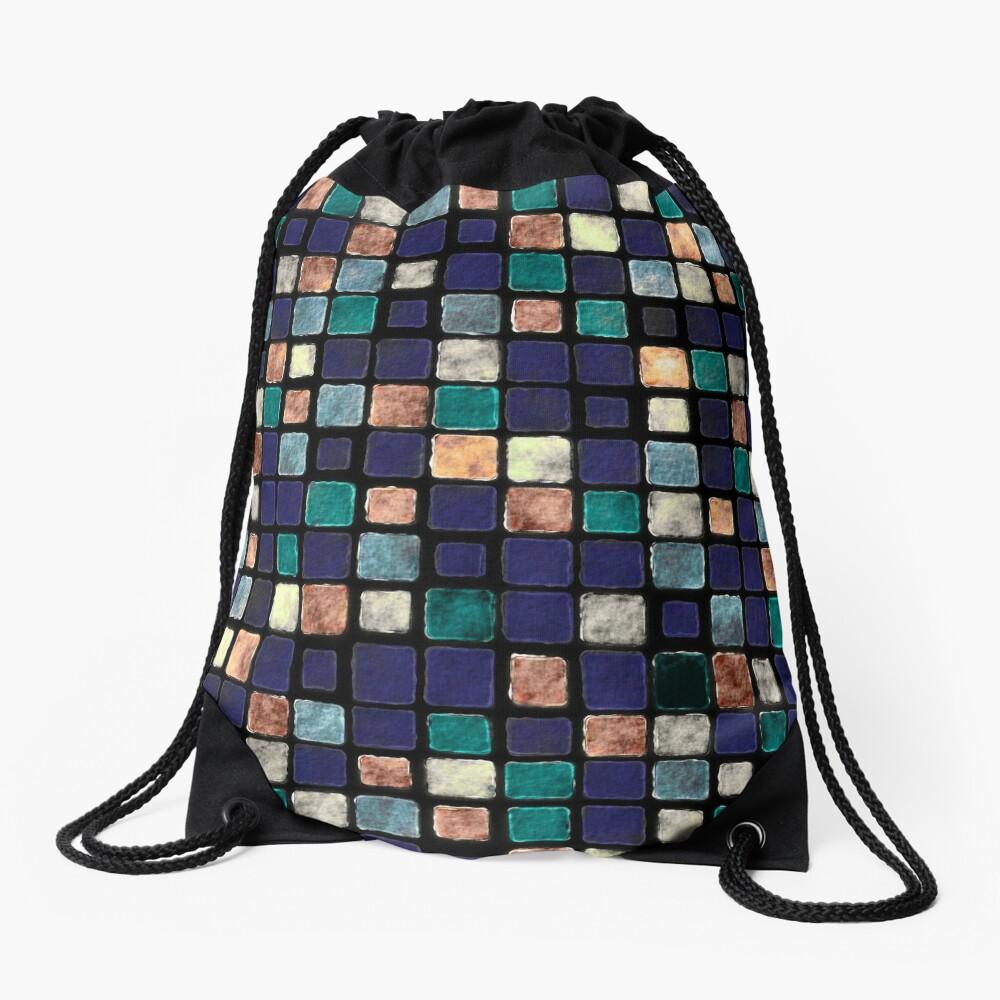 Vintage Squares Pattern Drawstring Bag