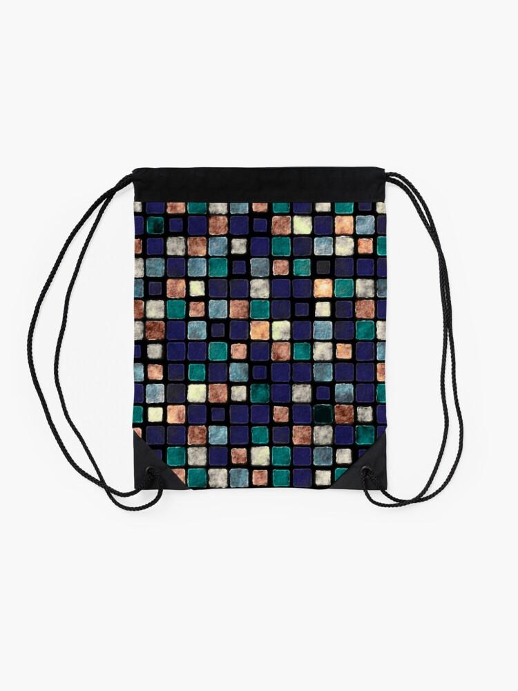 Alternate view of Vintage Squares Pattern Drawstring Bag