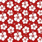 Hibiscus Flower (Red and White) by Saranet
