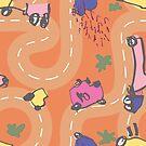 Elijah - Oranges - Roads - Single Motif by emshannonart