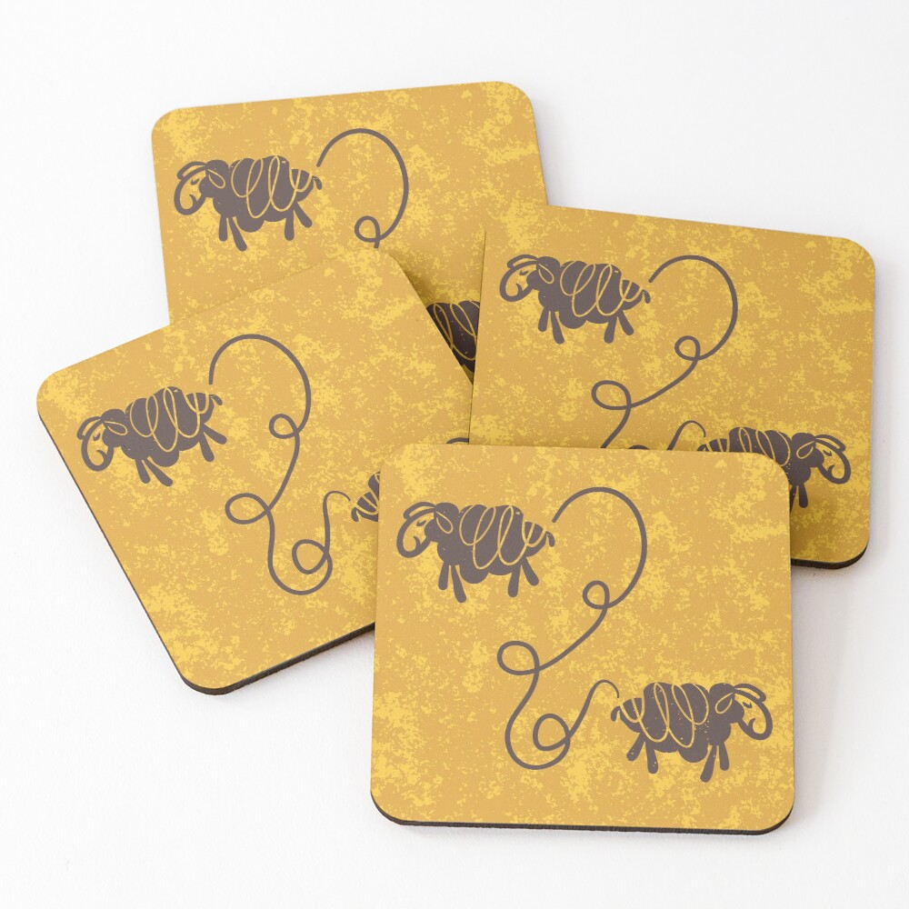 Connected sheep on mustard Coasters (Set of 4)