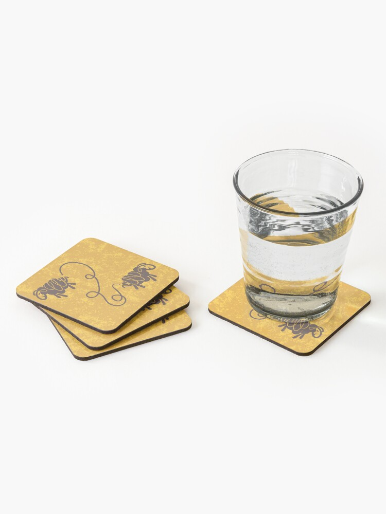 Alternate view of Connected sheep on mustard Coasters (Set of 4)