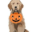 Golden Doodle Halloween Dog - golden doodle sticker, dog sticker, flask sticker, halloween sticker by PetFriendly