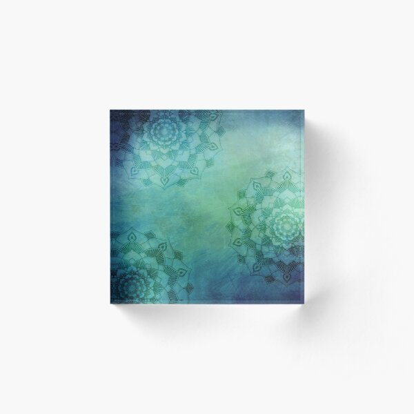 Mandala Lotus Trio / Zen Yoga Meditation Mandala Acrylic Block