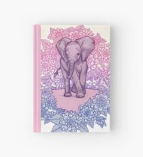 Cute Baby Elephant in pink, purple & blue Hardcover Journal