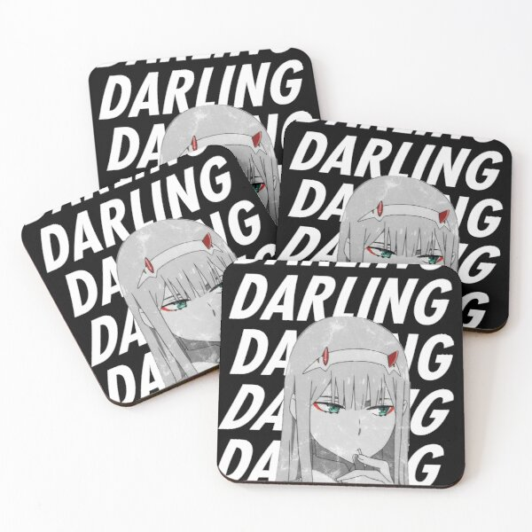 """Zero Two """"Darling"""" Darling in the FranXX Coasters (Set of 4)"""