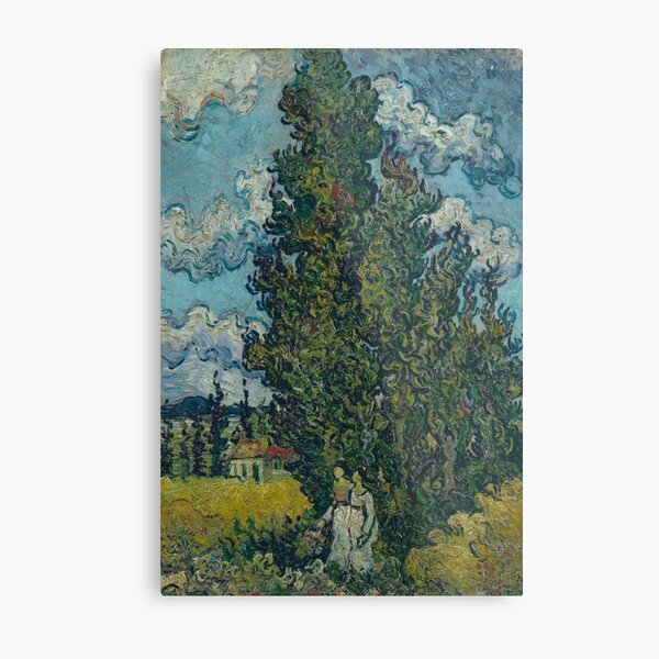 Vincent Van Gogh - Cypresses And Two Women  Metal Print