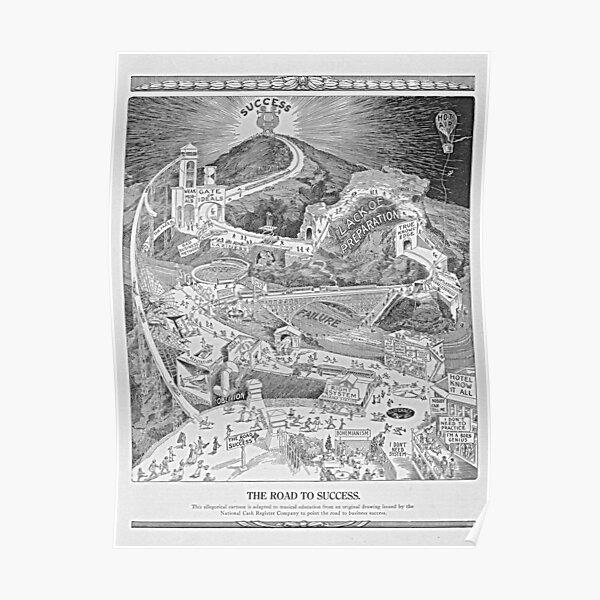 The Road To Success  Vintage 1913 Motivational Illustration Poster