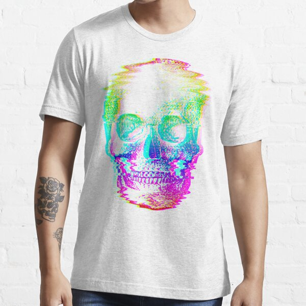 Copy of Glitchy Skull-Neon Version Essential T-Shirt