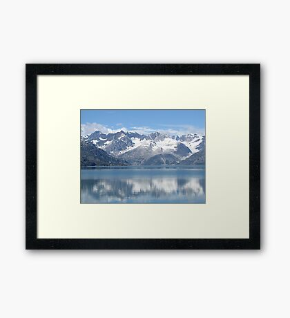 reflection of mountains Framed Print