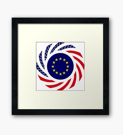 European American Multinational Patriot Flag Series Framed Print