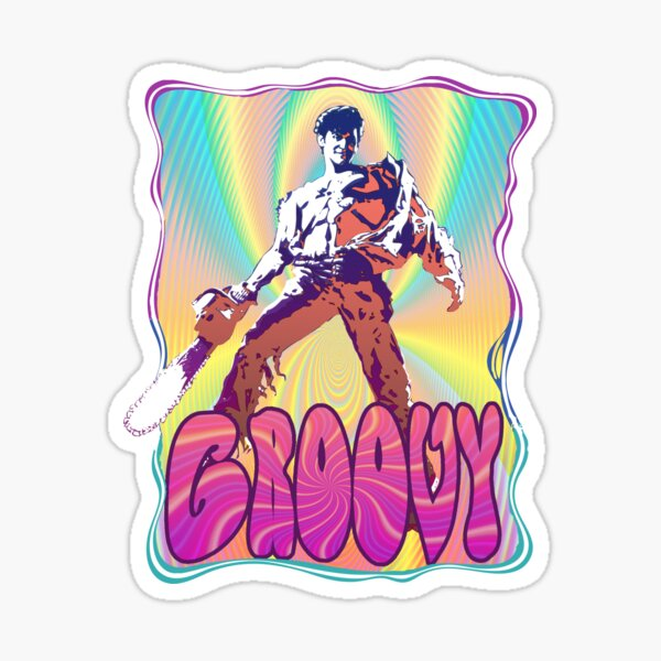 Evil Dead Ash Williams Groovy Sticker
