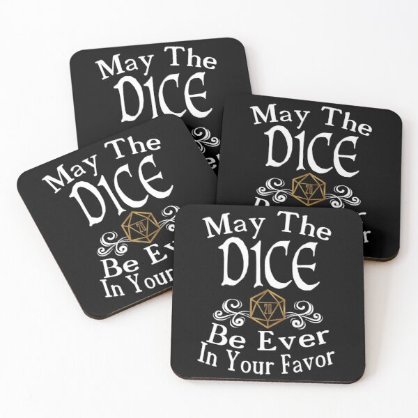 May The Dice Be Ever In Your Favor (White and Gold) Coasters (Set of 4)