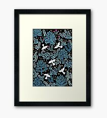 white birds garden Framed Print