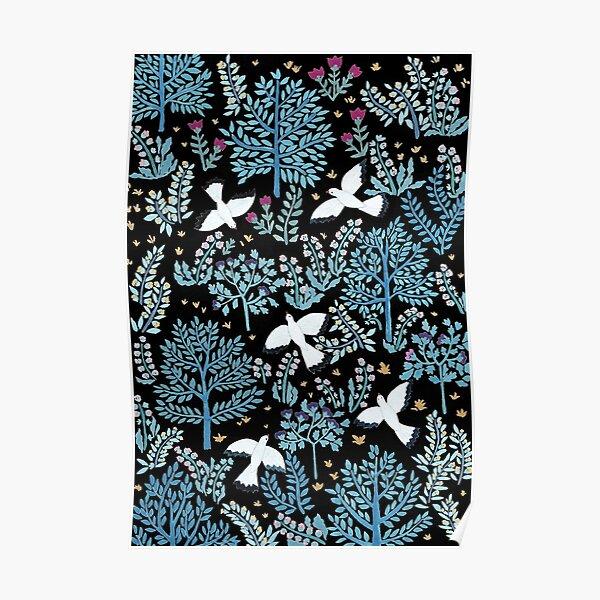 white birds garden Poster