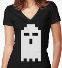 Pixel Ghost Women's Fitted V-Neck T-Shirt