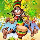 Rasta Bongo Musiker lustiger cooler Charakter von BluedarkArt