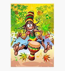 Rasta Bongo Musician funny cool character Photographic Print