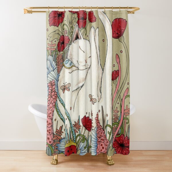 Poppies and Ladybug Shower Curtain