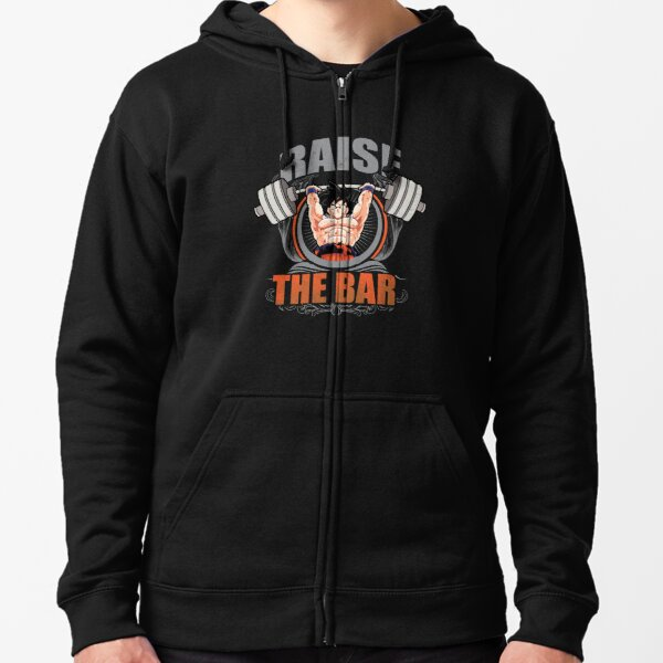 Raise The Bar - Goku Spirit Bomb - Barbell Zipped Hoodie