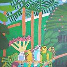 Five Budgerigars Zionart Zion Levy Stewart by zionart