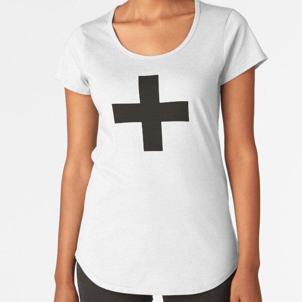 Crosses | Criss Cross | Swiss Cross | Hygge | Scandi | Plus Sign | Black and White |  Premium Scoop T-Shirt