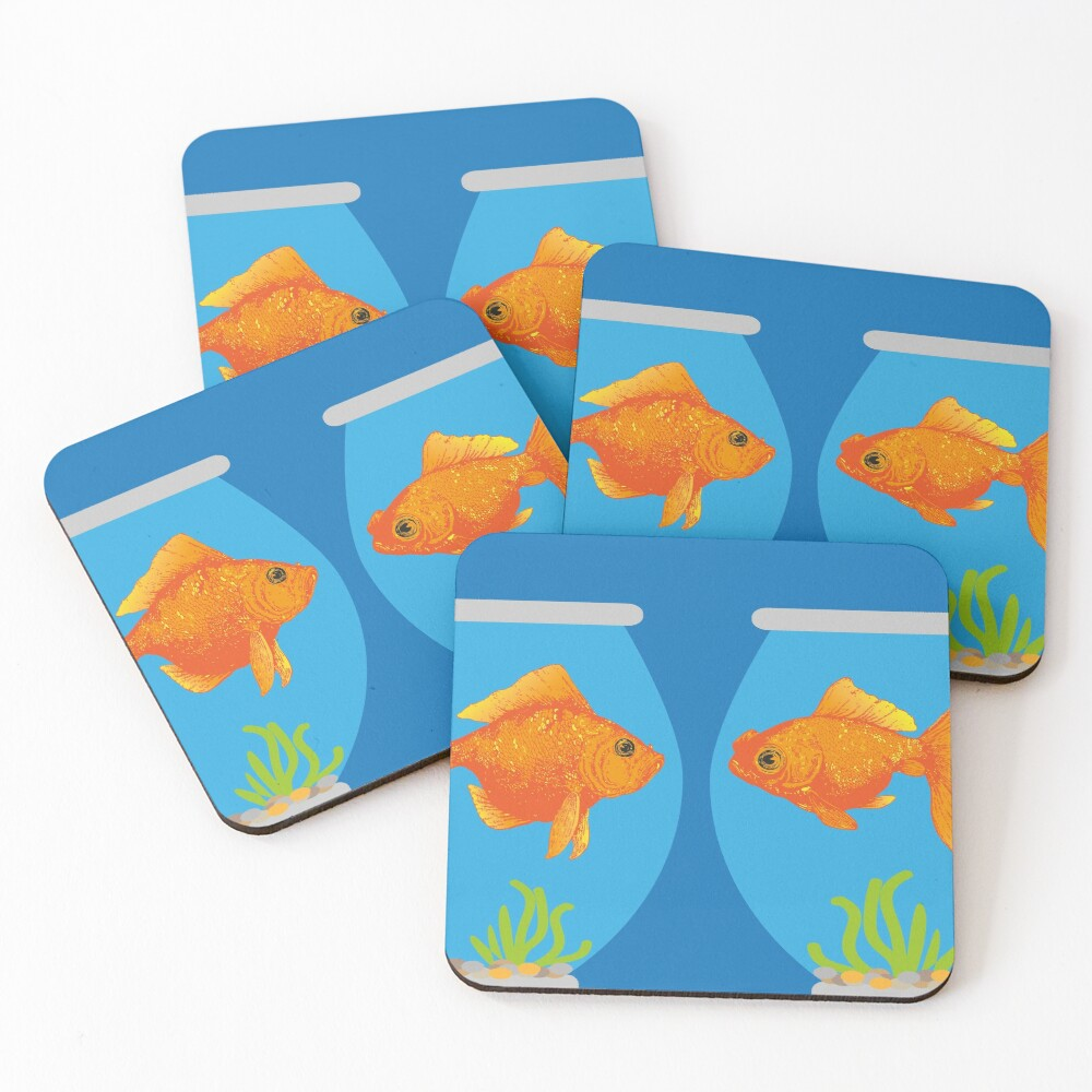 Two Little Goldfish in a their Fish Bowls   Vintage Goldfish    Coasters (Set of 4)