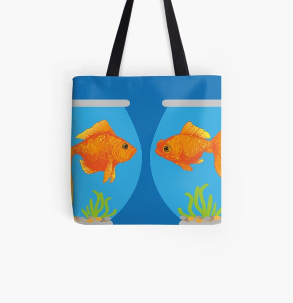 Two Little Goldfish in their Fish Bowls | Vintage Goldfish |  All Over Print Tote Bag