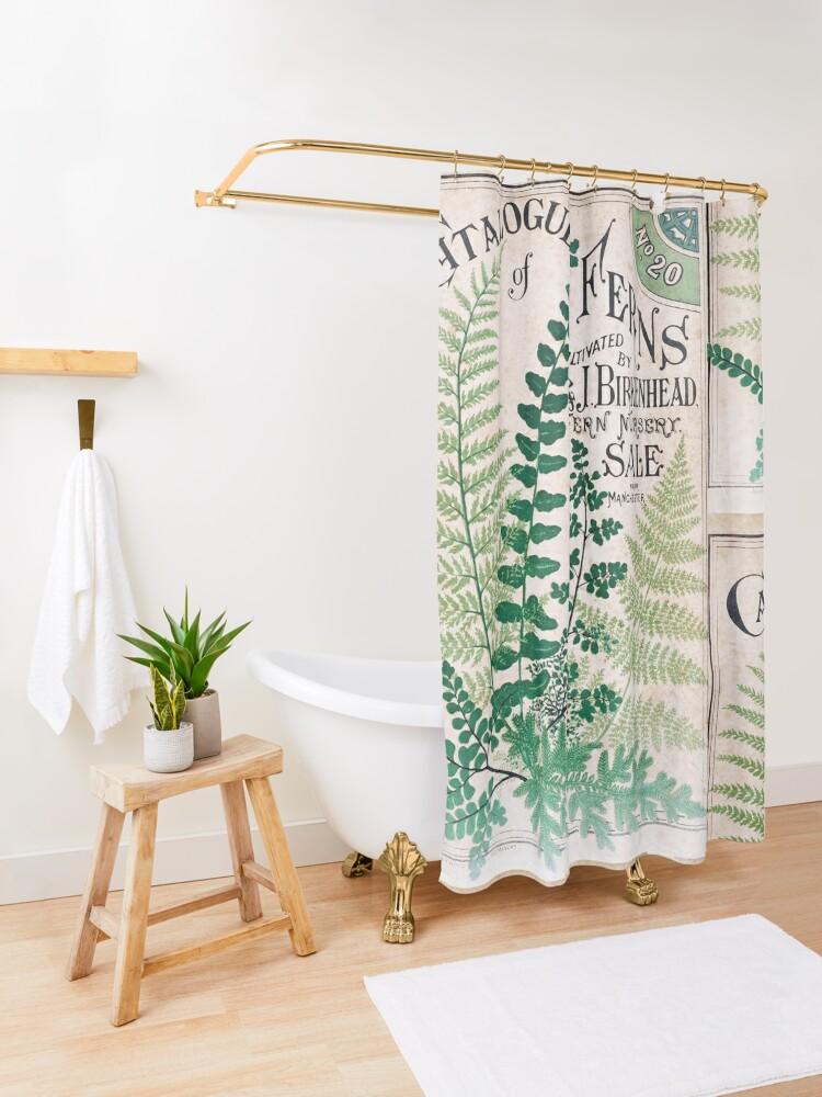 Alternate view of Vintage Botanical Ferns  Shower Curtain