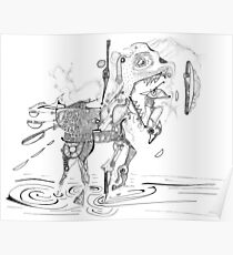 Merrygoround Horse - abstract pen and ink Poster