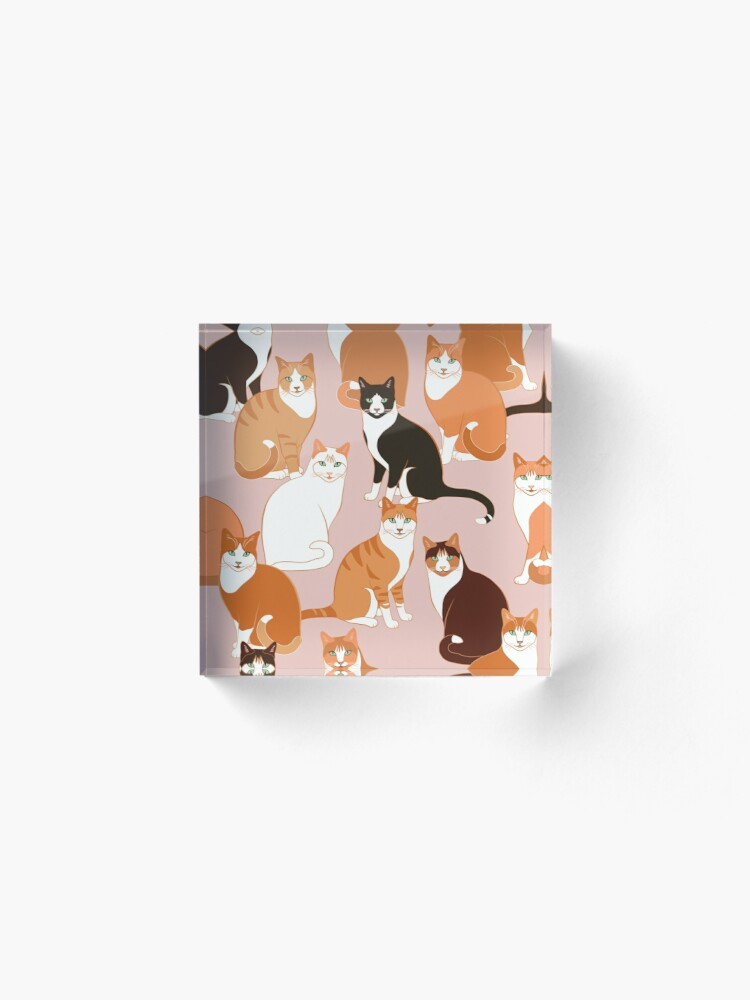 Alternate view of Ginger Cats on pink (with stickers) Acrylic Block
