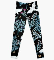 white birds garden Leggings
