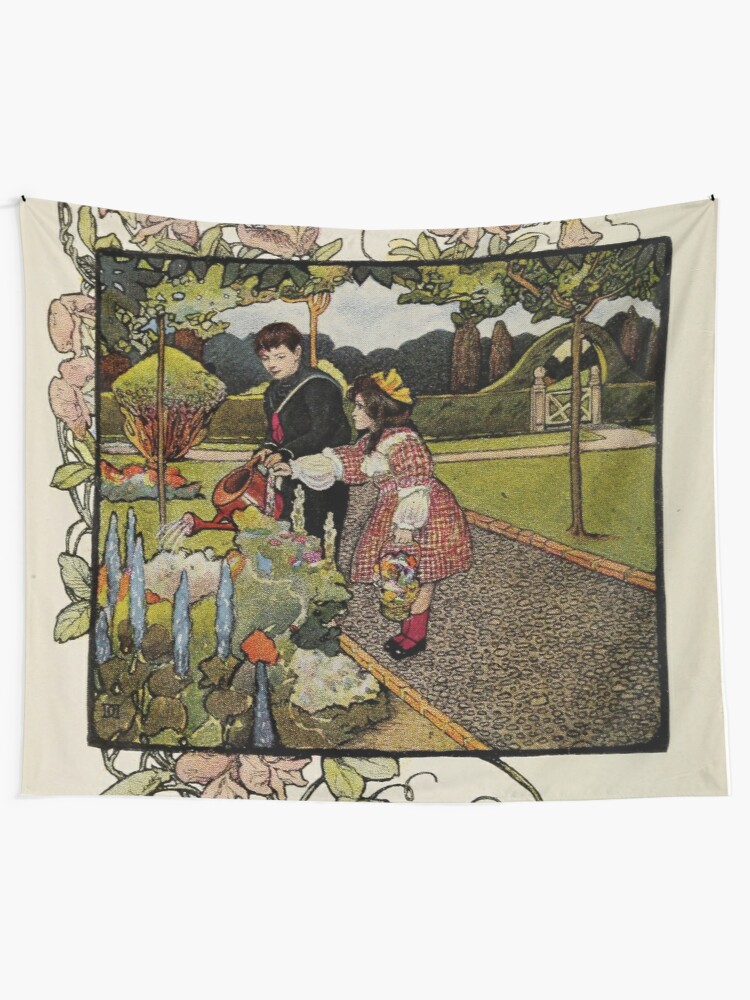 "Alternate view of Vintage Art from ""A little garden calendar for boys and girls"" book Wall Tapestry"