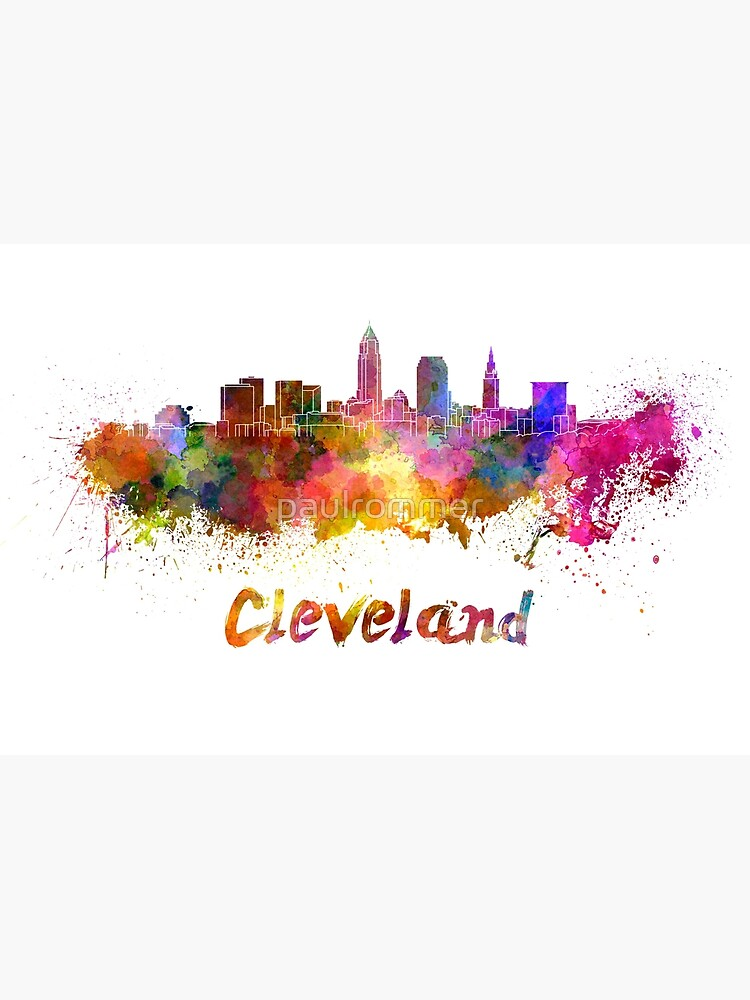 Cleveland skyline in watercolor by paulrommer