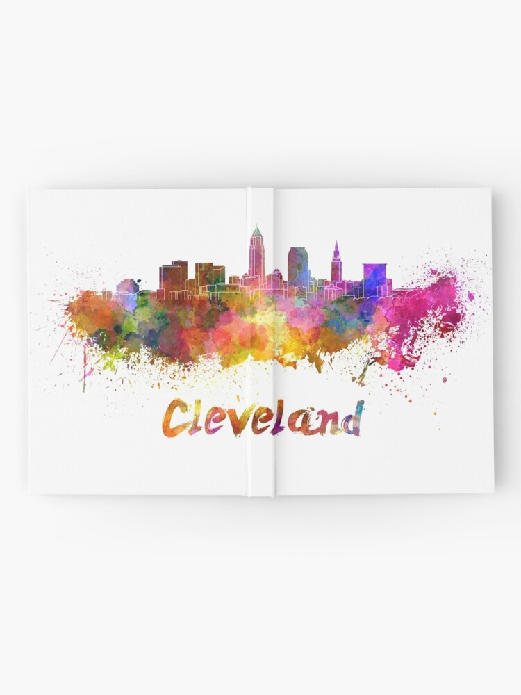 Alternate view of Cleveland skyline in watercolor Hardcover Journal