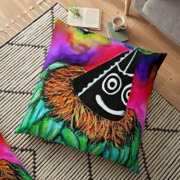 #246 - The Colourful Duk Duk - Artist Nathalie Le Riche Floor Pillow