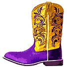 Cowboy or cowgirl boot in purple and yellow by Jen Fullerton