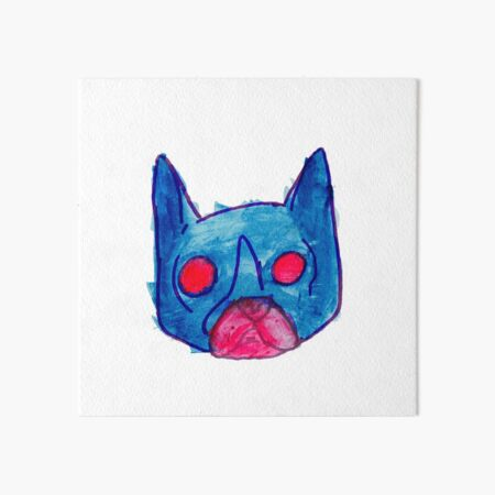 Demon French Bulldog with Red Glowing eyes, a watercolor and ink.  Art Board Print