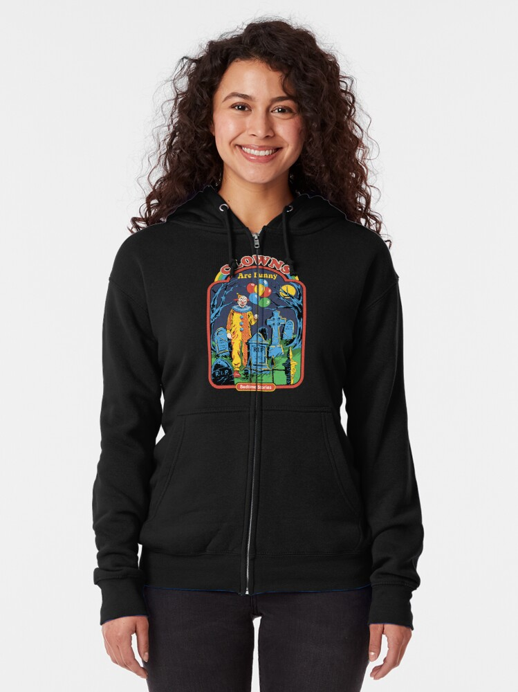 Alternate view of Clowns are Funny Zipped Hoodie