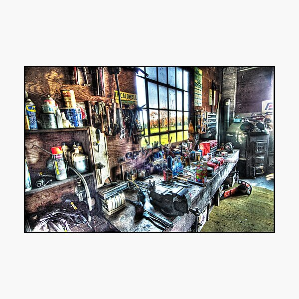 Jim's Workbench Photographic Print