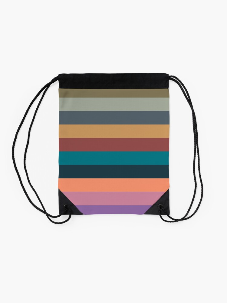 Alternate view of color stripes in colorful pastel Drawstring Bag