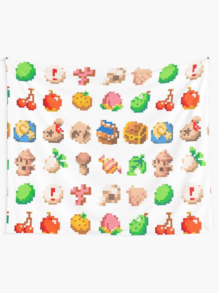Animal Island Item Sprites Animal Crossing Pixel Art Tapestry