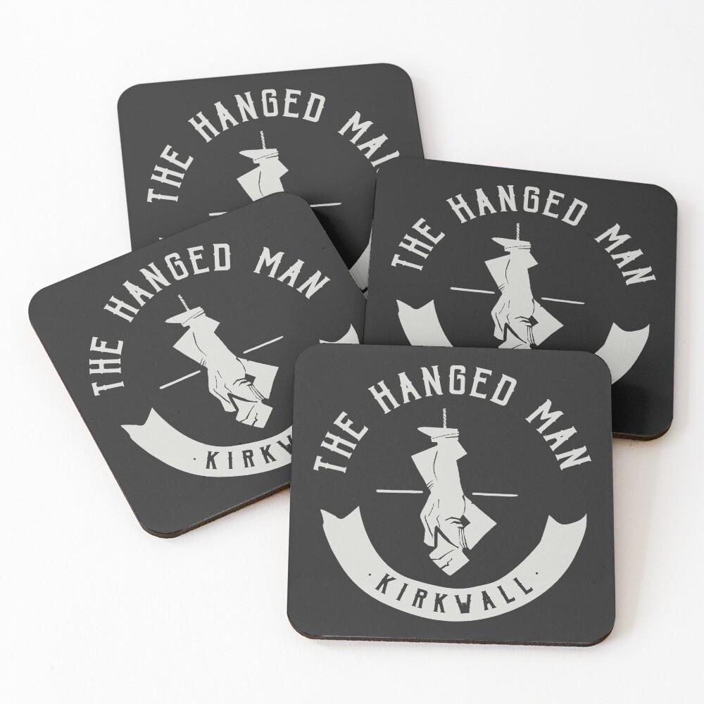 The Hanged Man Pub Logo | Dragon Age 2 | White Logo Coasters (Set of 4)