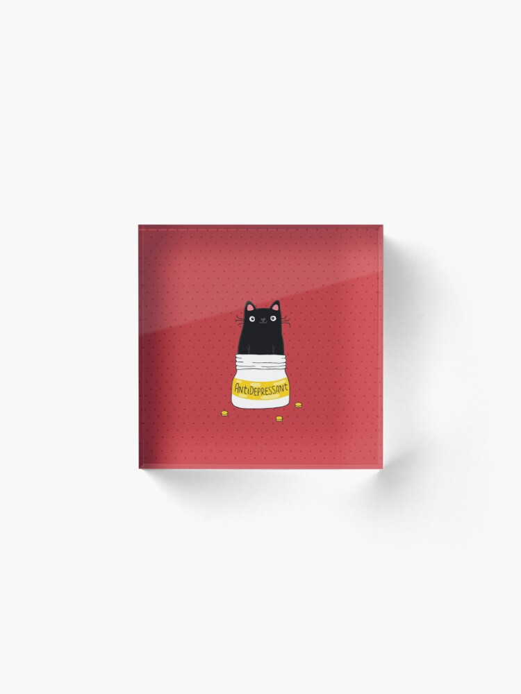 Alternate view of FUR ANTIDEPRESSANT . Cute black cat illustration. A gift for a pet lover. Acrylic Block