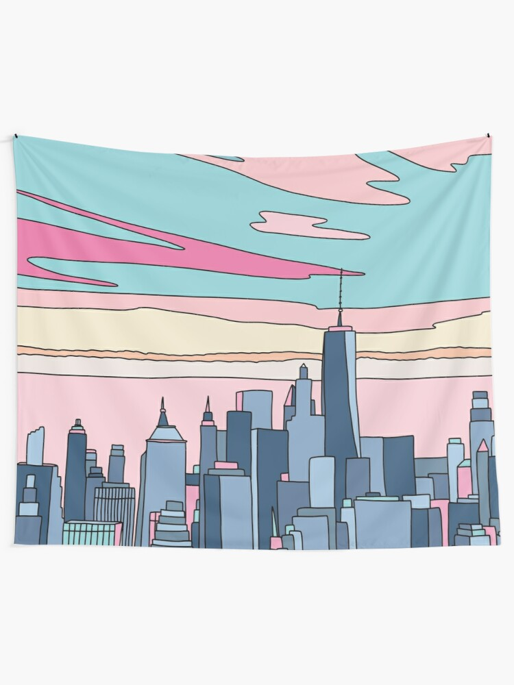 Alternate view of City sunset by Elebea Tapestry