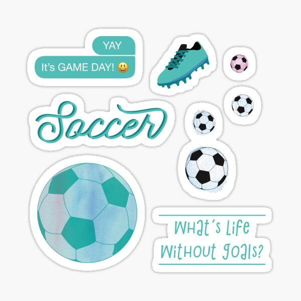 Teal Watercolor Soccer Sticker Pack Sticker