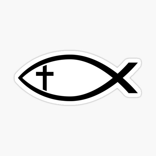 Ichthus with Cross Christian Fish Symbol Sticker