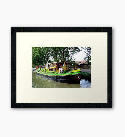 Boatside shopping along the Canal Framed Print