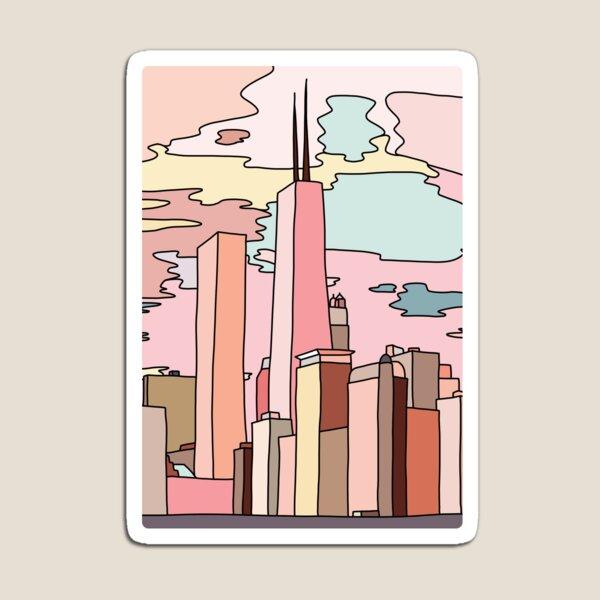 Chicago sunset by Sasa Elebea Magnet