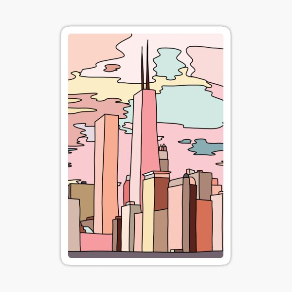 Chicago sunset by Sasa Elebea Sticker